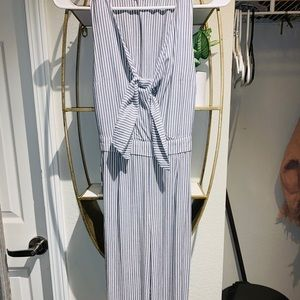 Abercrombie & Fitch Tie Front Striped Jumpsuit